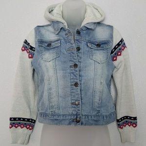 VIGOSS Girls Fuzzy Denim Jacket